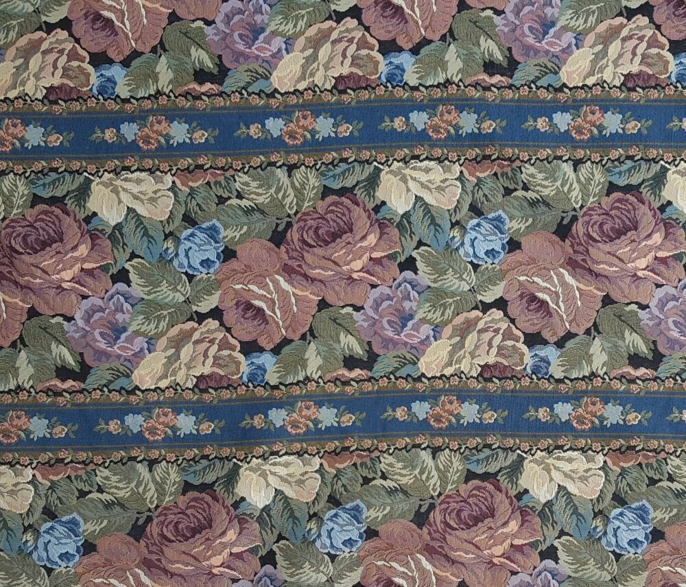 Muted Blue And Floral Red: Muted Pink Blue Purple Roses Flowers On Black Upholstery