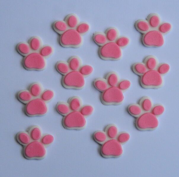 24 edible dog cat paw print animal cupcake cake topper for Animal print edible cake decoration