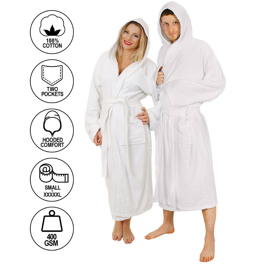 Bathrobe: WHITE ADULTS HOODED BATHROBE 100% COTTON MENS LADIES