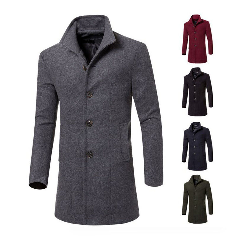 New Mens Long Trench Coat Winter Jacket Wool Coat Overcoat