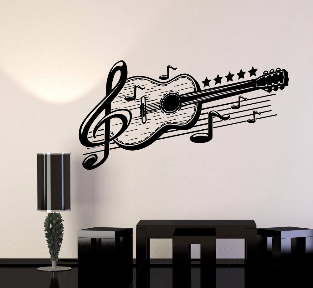 Vinyl Wall Decal Guitar Musical Art Music Decor Stickers Mural 443ig Ebay