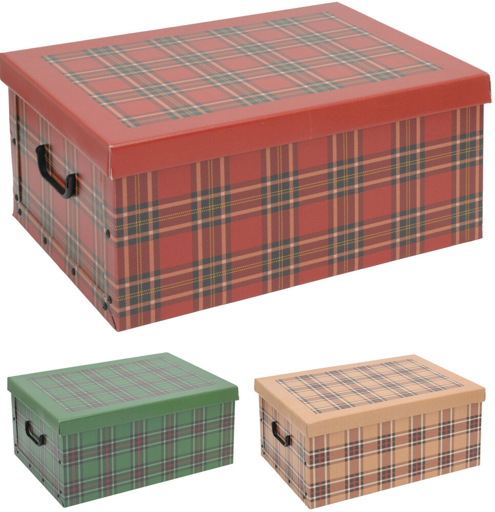 cardboard large storage boxes with lids tartan design. Black Bedroom Furniture Sets. Home Design Ideas
