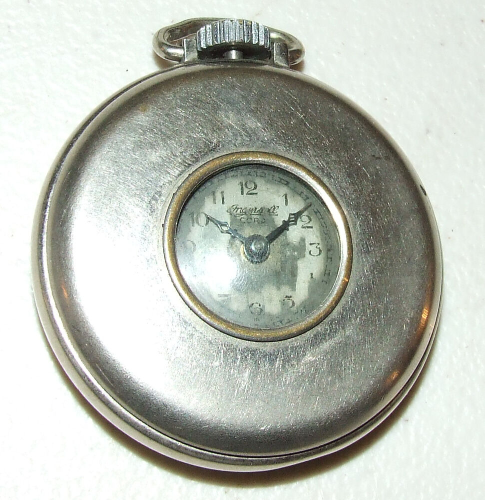 Antique ingersoll cord stainless pocket watch made in usa ebay for Watches on ebay