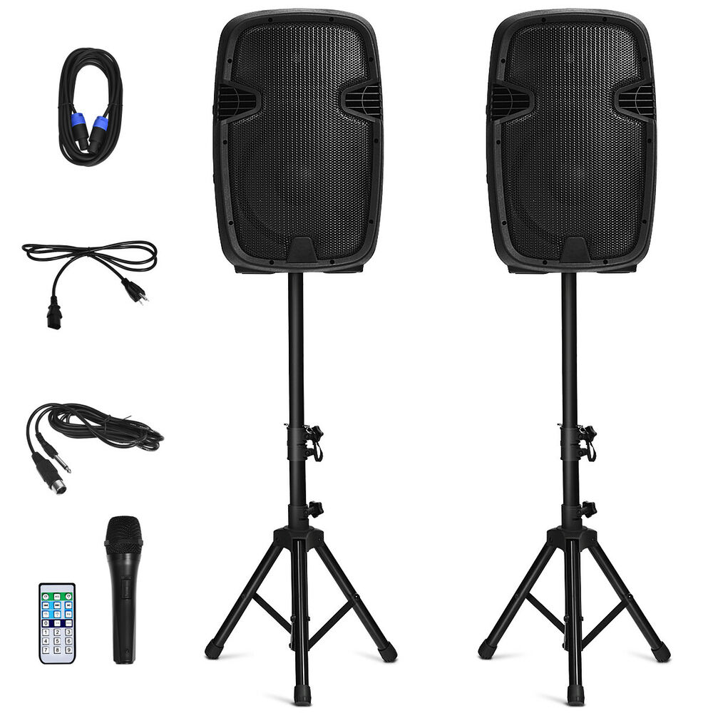 Dual 12 Quot 2 Way 2000w Powered Speakers W Bluetooth Mic