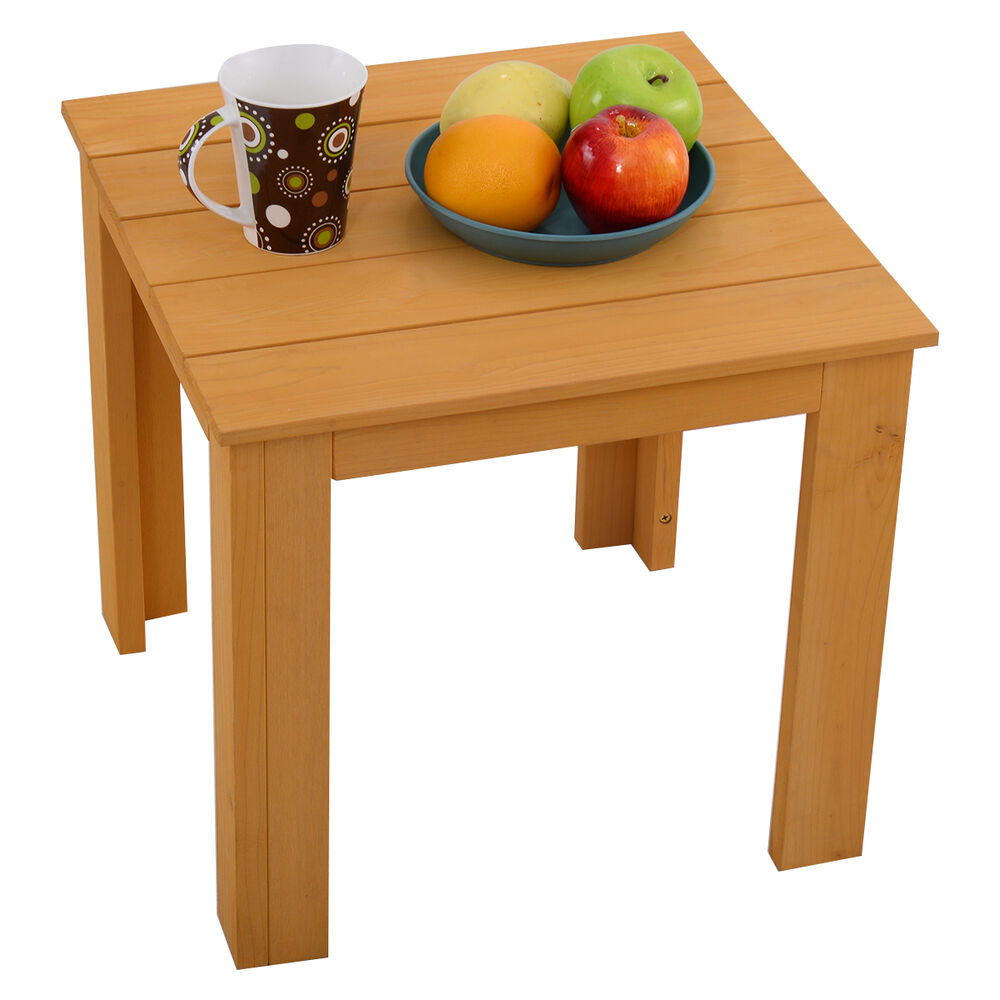 Small end table wood coffee tea side table indoor outdoor for Small wooden side table
