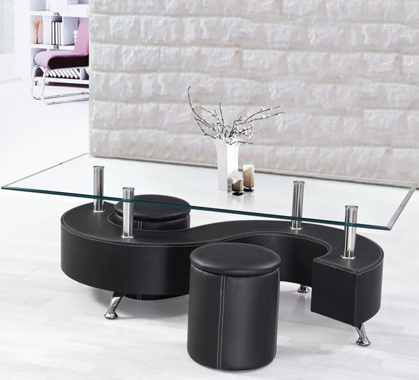 New 3pc Dallan Modern Glass Black Bycast Leather Coffee Table Set W Ottomans Ebay