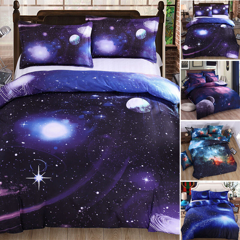 Galaxy bedding set single queen size 3d printed outer for Outer space bedding