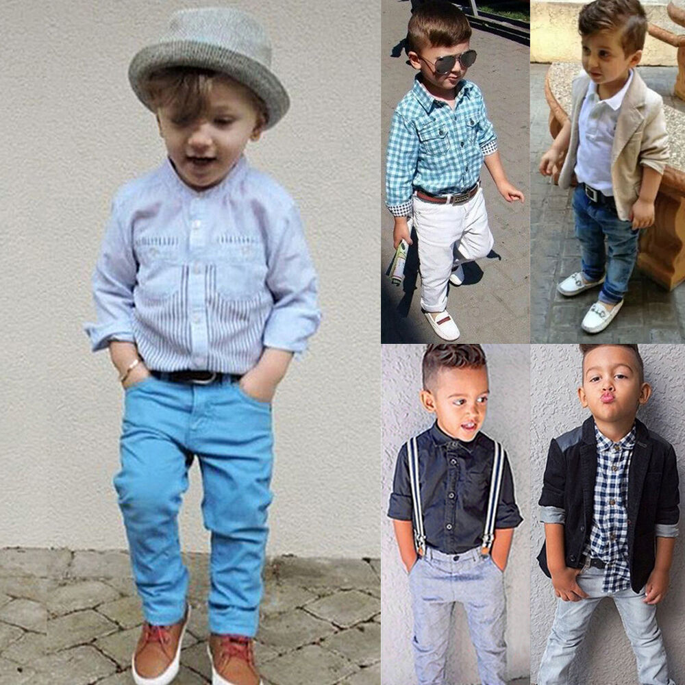 Cute Toddler Kids Baby Boys Gentleman Coat Shirt Denim ...
