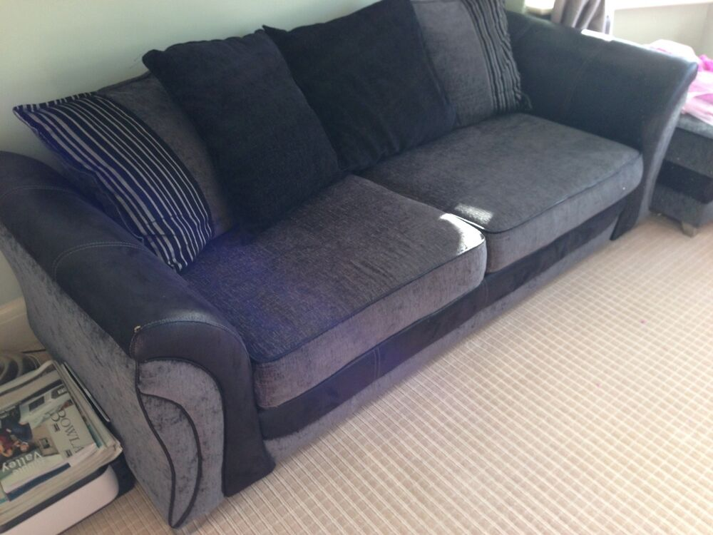 3 seater sofa black grey dfs ebay for Black and grey sofa
