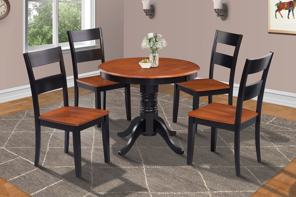 36 Quot Brookline Dinette Dining Room Round Table Set In Black