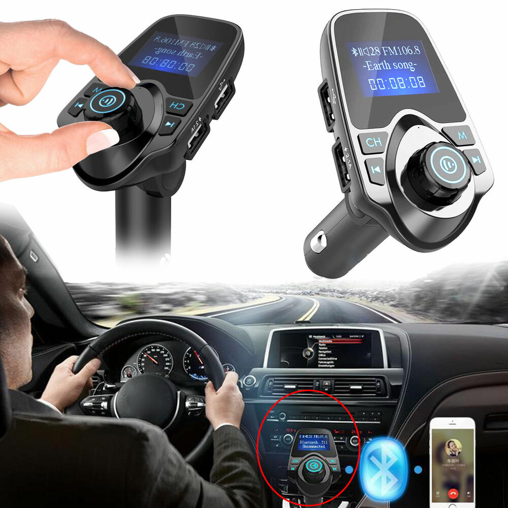 bluetooth car kit fm transmitter wireless radio adapter. Black Bedroom Furniture Sets. Home Design Ideas