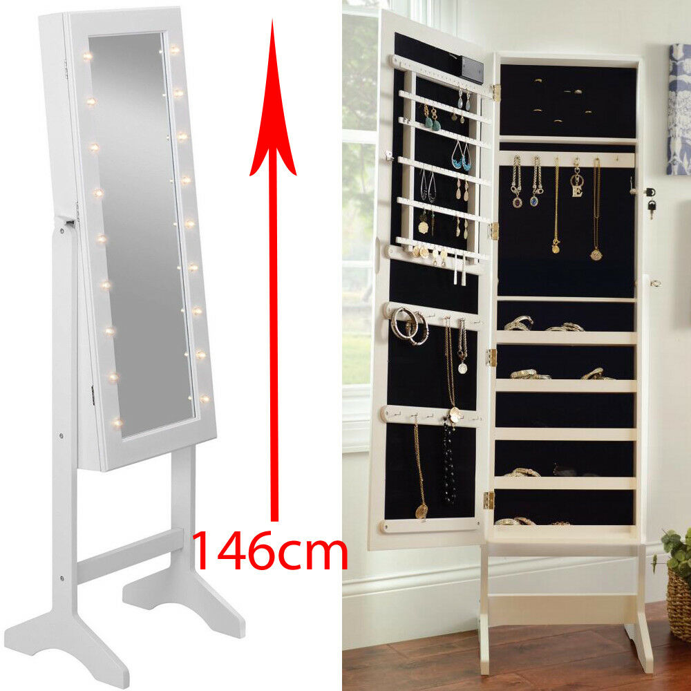 Mirror With Led Light Jewellery Cabinet Stand Storage