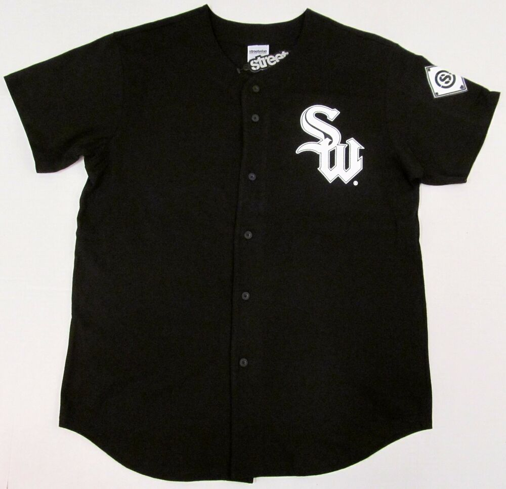 streetwise sox baseball jersey t shirt full button tee adult l xl 2xl black nwt ebay. Black Bedroom Furniture Sets. Home Design Ideas