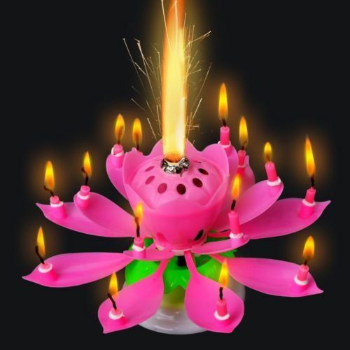 Funny Lotus Flower Musical Blossom Birthday Cake Candles Topper