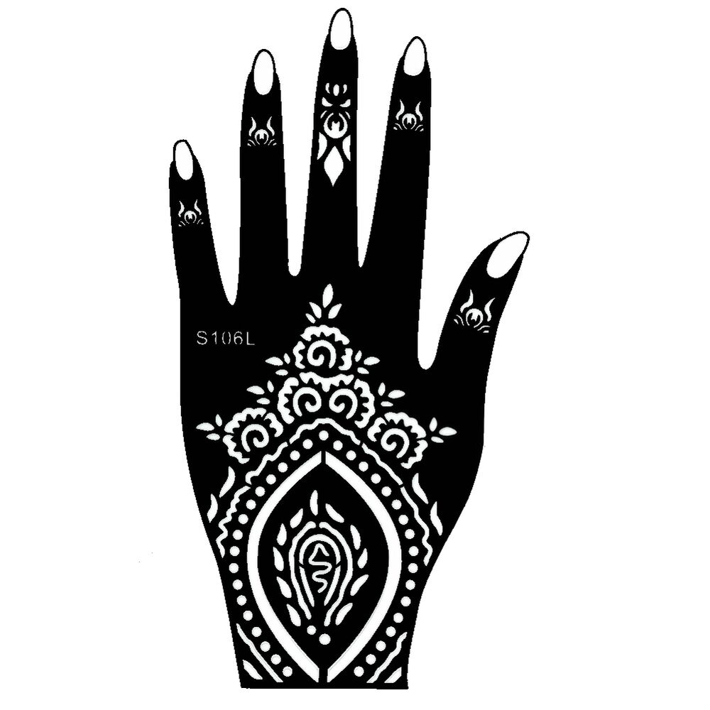henna tattoo schablone hand links kina handbemalung d vme mehndi ebay. Black Bedroom Furniture Sets. Home Design Ideas
