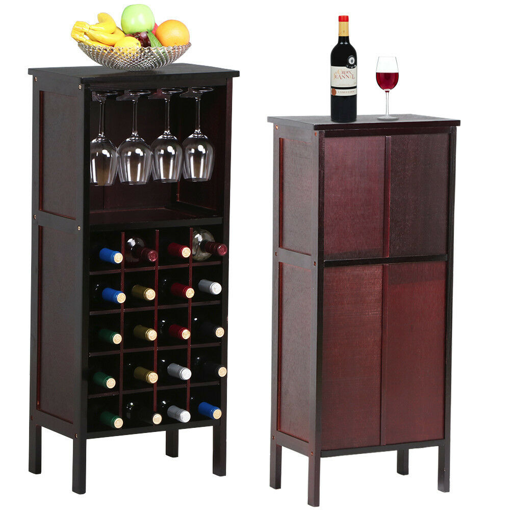 Wood Wine Cabinet Bottle Holder Storage Kitchen Home Bar With Glass Rack Used B Ebay