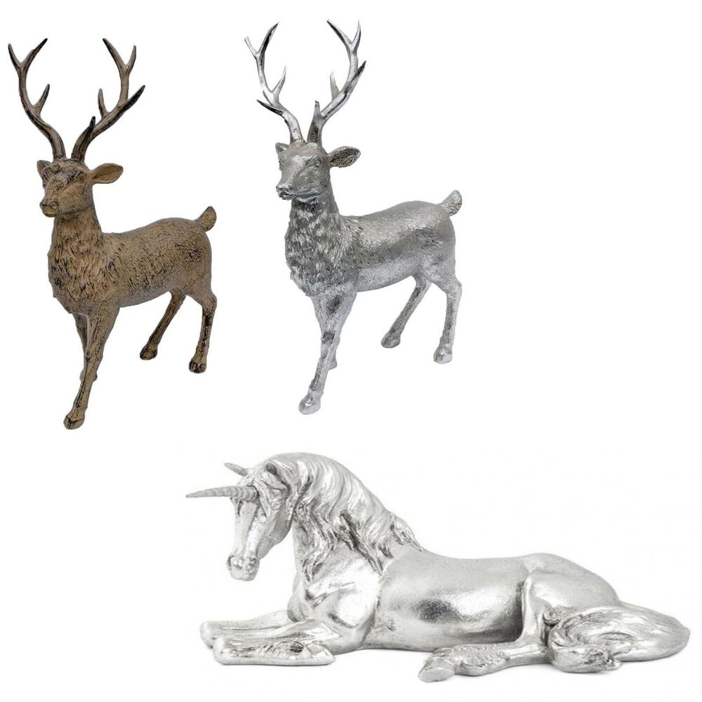 Xmas Wooden Look Silver Standing Stag Home Decoration ...
