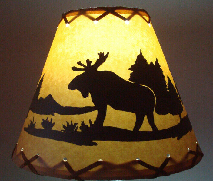 Bear Table Light Cabin Cottage Lamp Shade Clip On Bulb