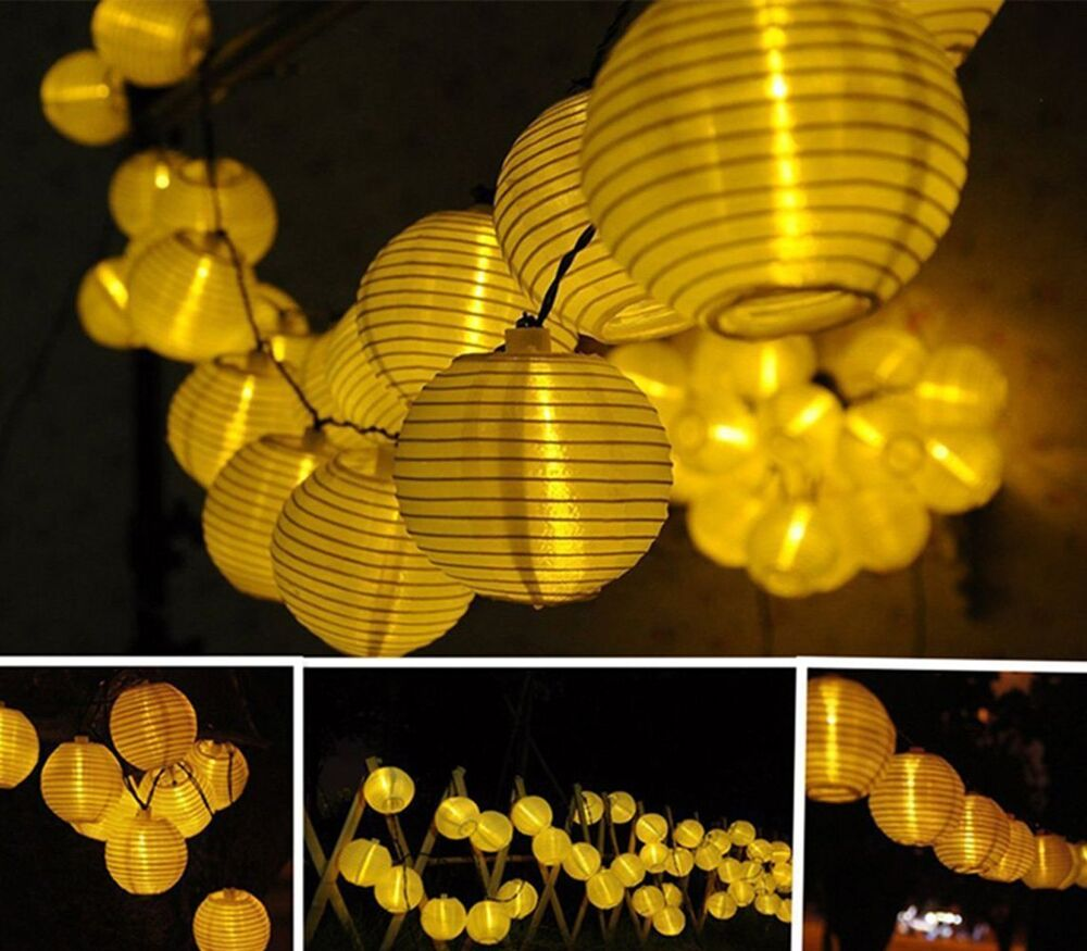 Chinese Lantern String Lights Outdoor : Chinese Lantern LED Solar String Lights (Warm White), solar garden Party decor eBay