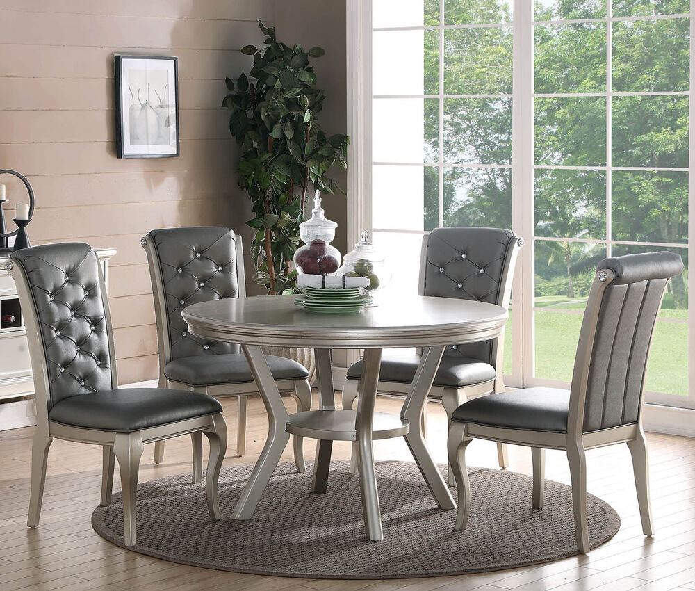 Wooden Dining Table Set: ZEYNA 5PC ROUND PLATINUM SILVER FINISH WOOD DINING ROOM