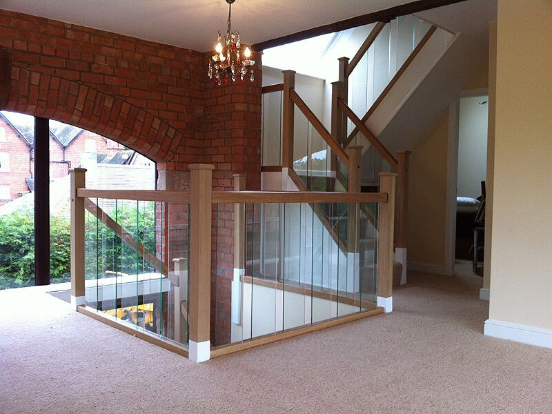 Solutions Contemporary Landing Balustrade Kit Glass Panels