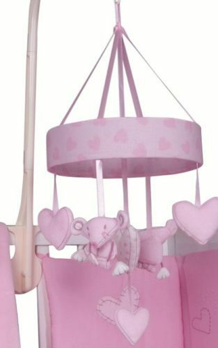 baby musical mobile pink with soft brahms lullaby sounds nursery cot crib hearts ebay. Black Bedroom Furniture Sets. Home Design Ideas