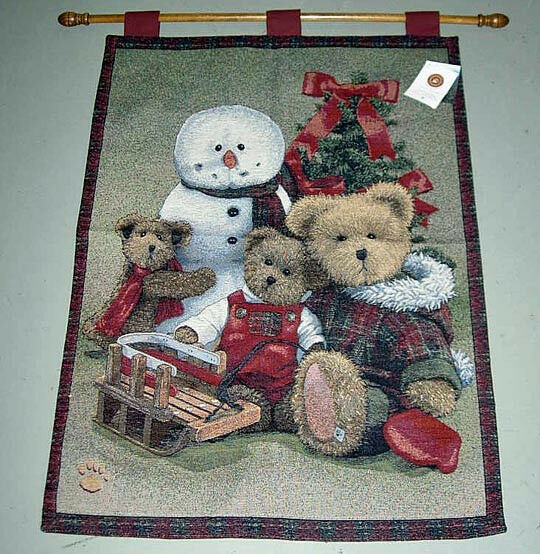 Boyds Bears Woolseys Family Christmas Tapestry Wall