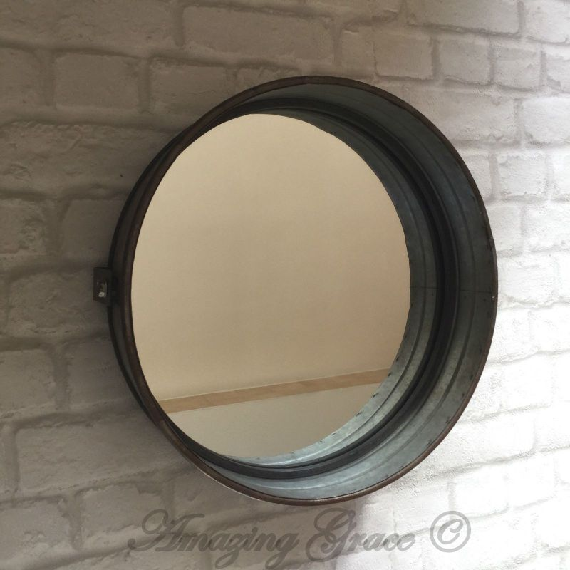 Vintage Industrial Style Metal Wall Mirror Round Metal ...