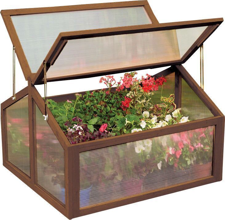 Double box garden wooden green house cold frame raised for Wooden attic box bed