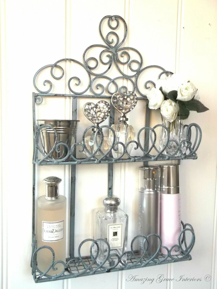 French Vintage Style Metal Wall Shelf Unit Storage Cabinet Bathroom Shabby Chic Ebay