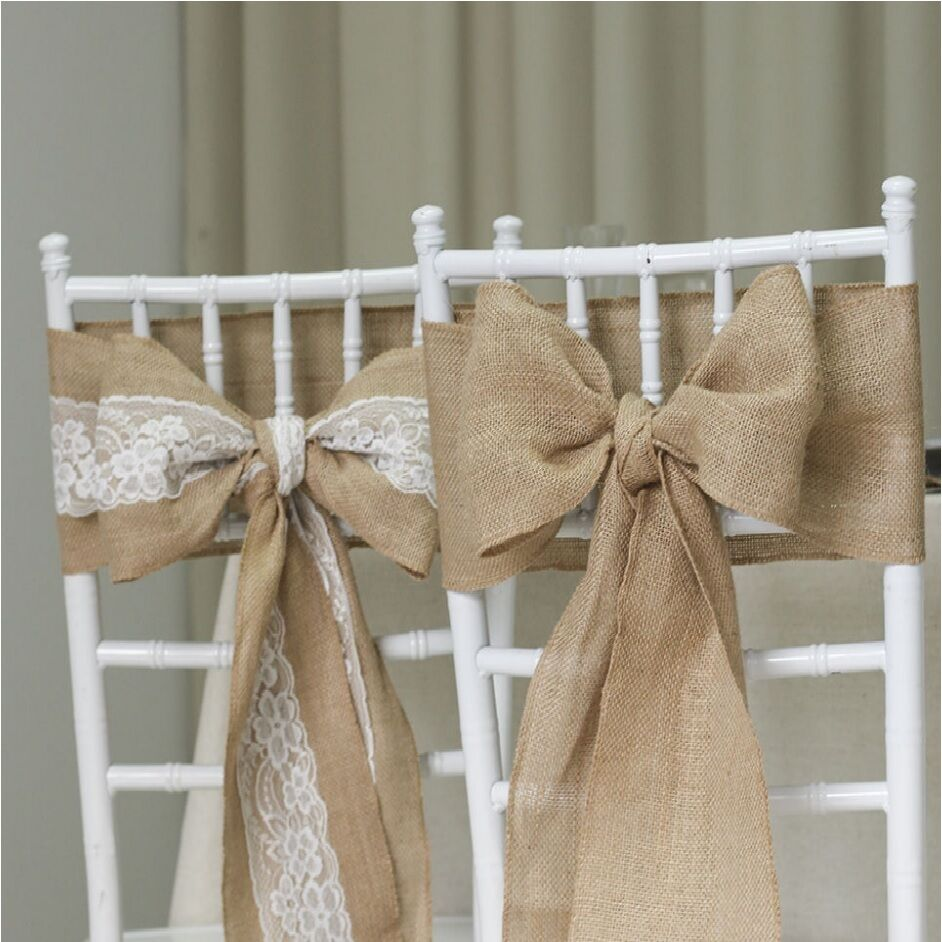 Hessian Chair Sashes Natural Burlap Jute Lace Rustic