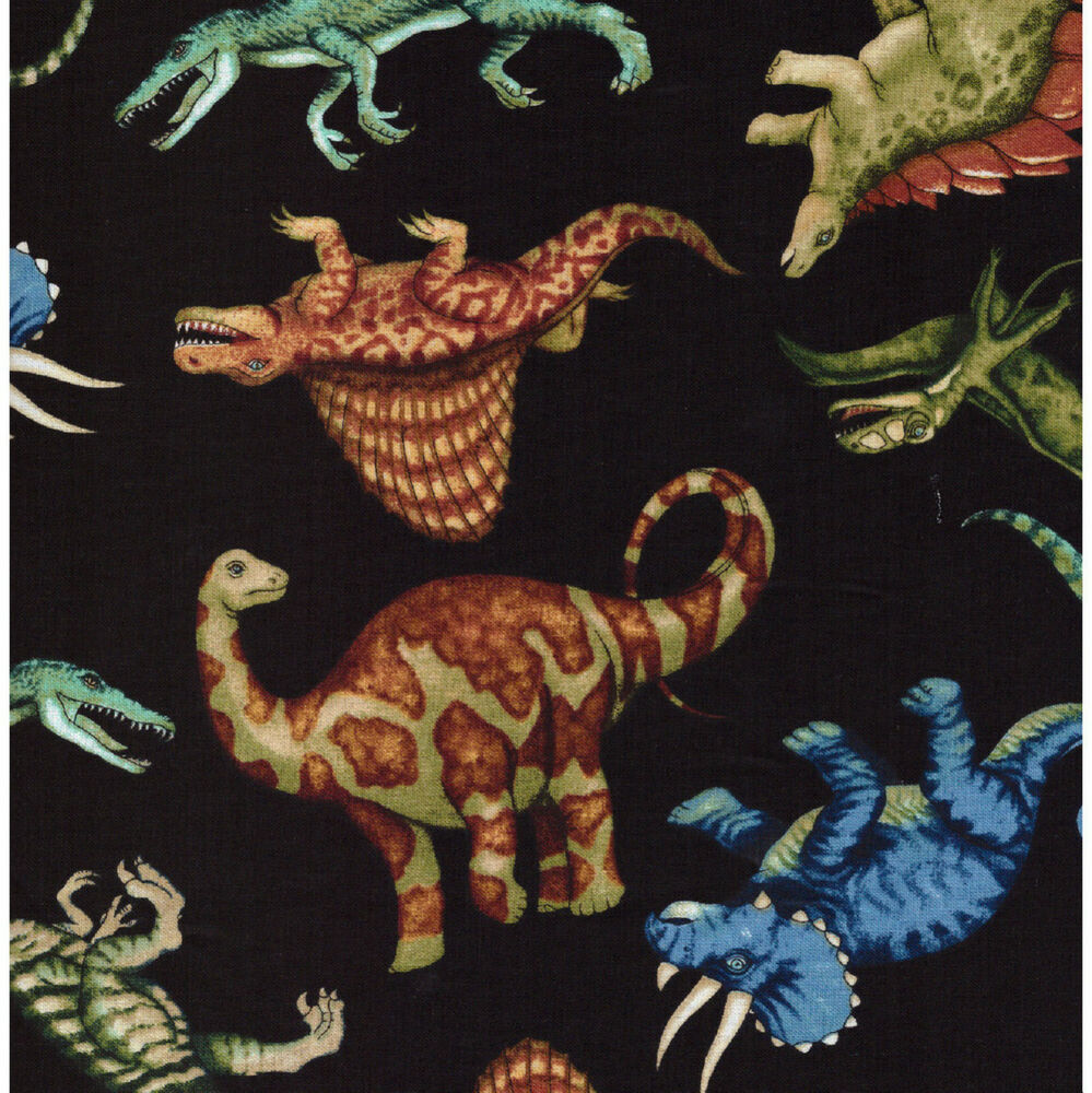 Dinosaurs fabric jurassic jungle 100 cotton fabric black for Dinosaur fabric
