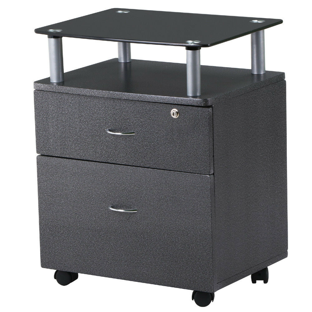 2 Drawer Rolling Glass Topped Filing Cabinet Graphite
