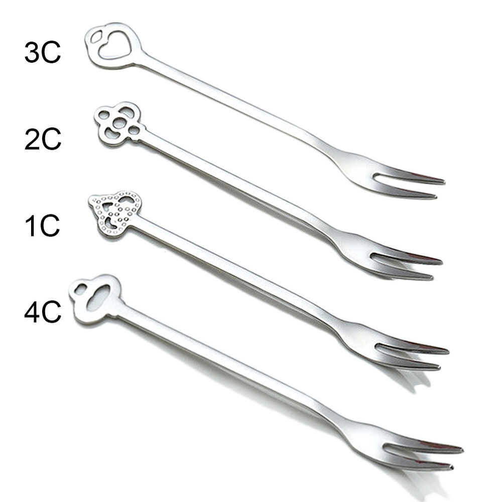 10 pcs Stainless Fruit Forks Two Prong Fork Bistro ...