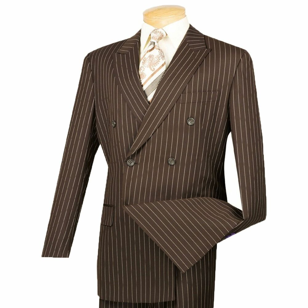 Blue Pinstripe Suit With Brown Shoes