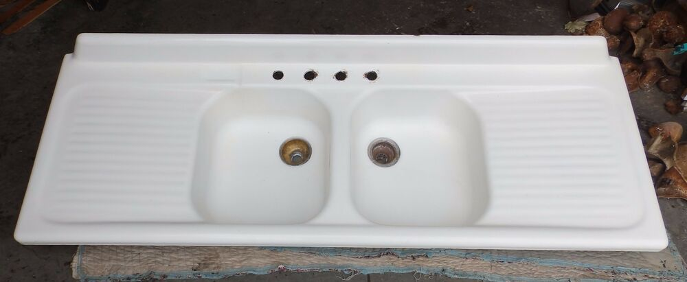 white porcelain double kitchen sink vtg cast iron white porcelain drainboard basin 1859