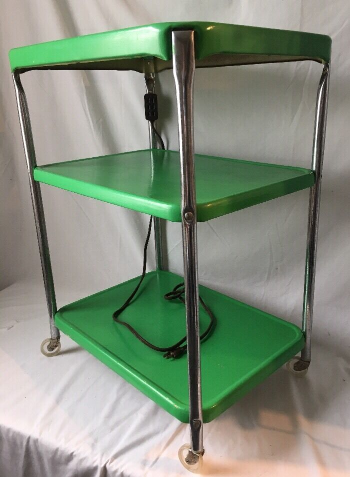 Vintage 3 Tier Kitchen Utility Cart Rolling Green Metal W