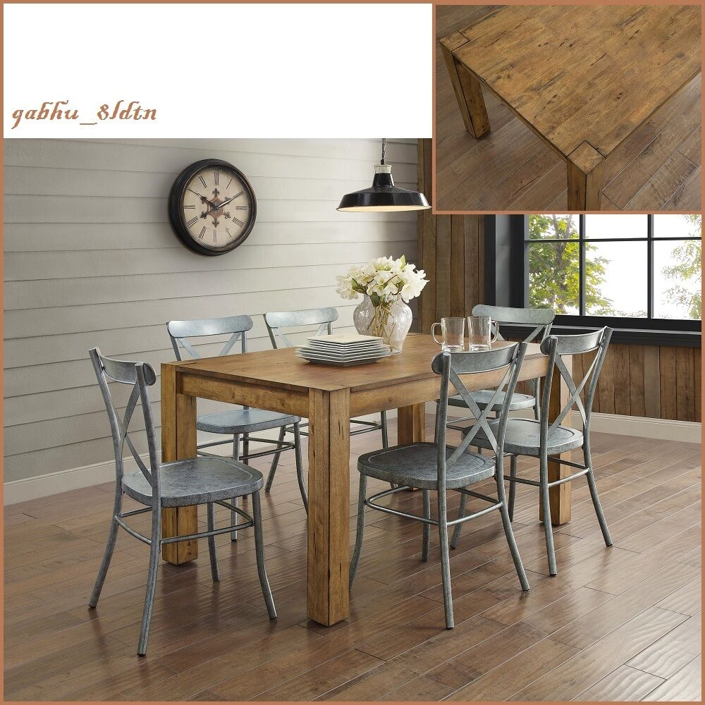 new rustic solid wood dining table desk block leg farm house style vintage look ebay. Black Bedroom Furniture Sets. Home Design Ideas