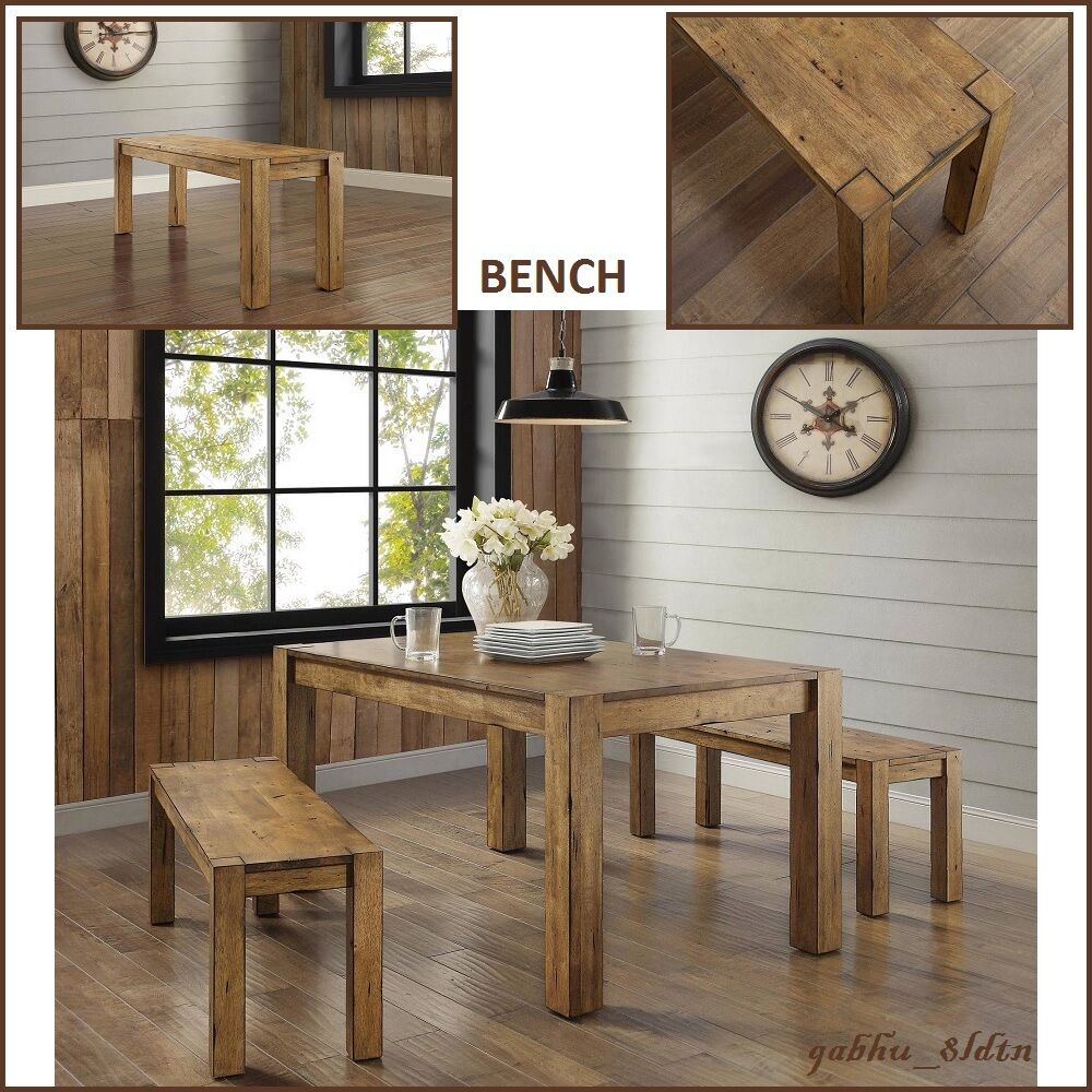Details About New Rustic Solid Wood Dining Table Bench Block Leg Farm House Style Vintage