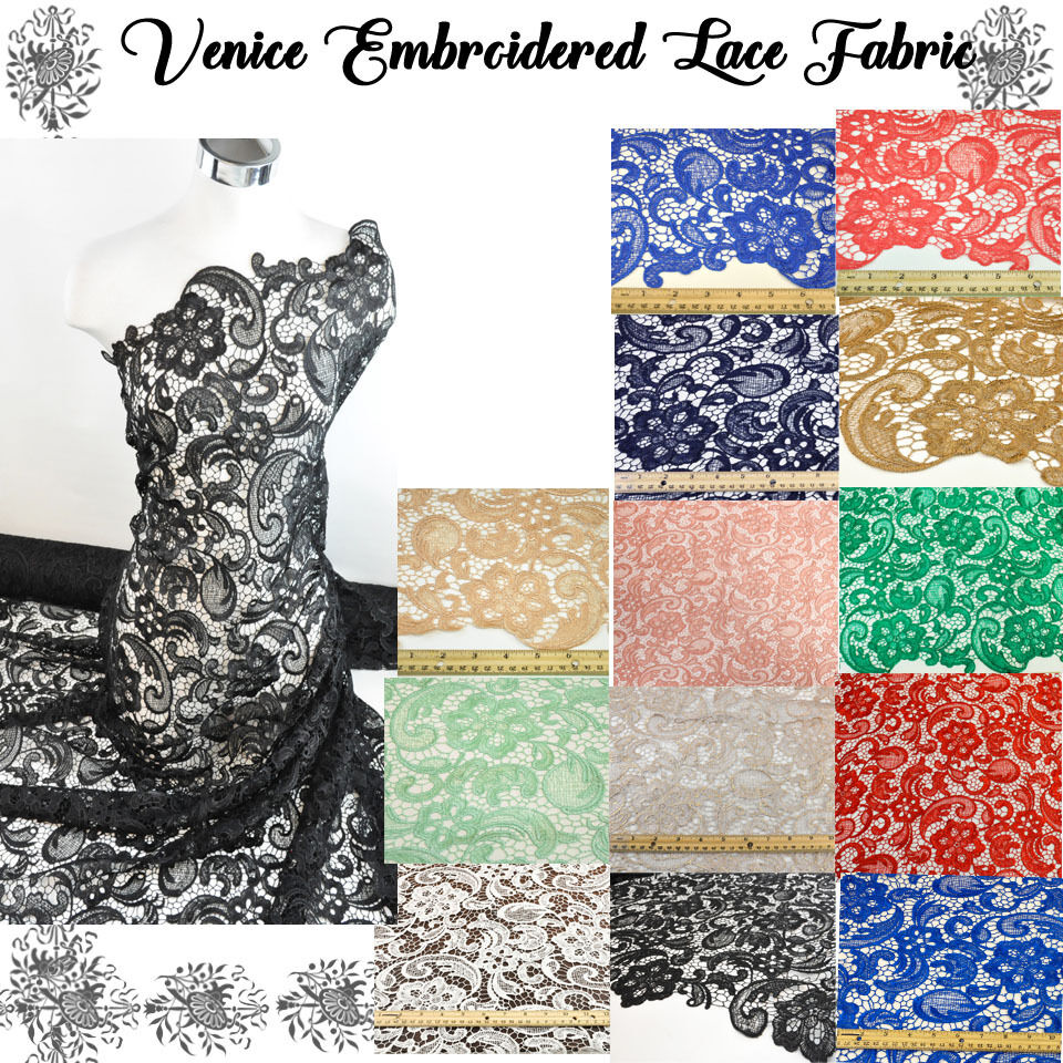 Venice embroidered lace fabric french guipure lace by the for Purchase fabric by the yard