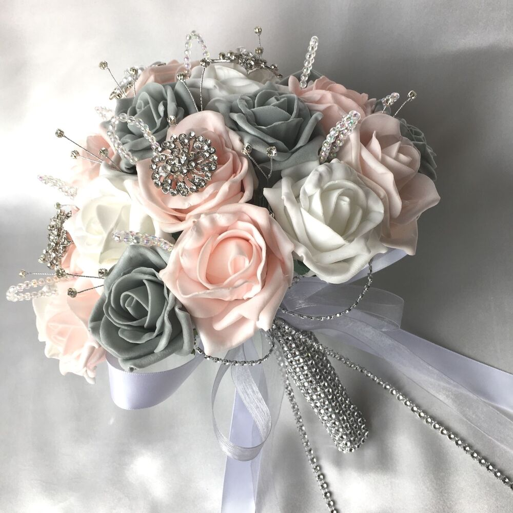 White Wedding Flowers: BRIDES POSY BOUQUET, BABY PINK, WHITE & GREY ROSES