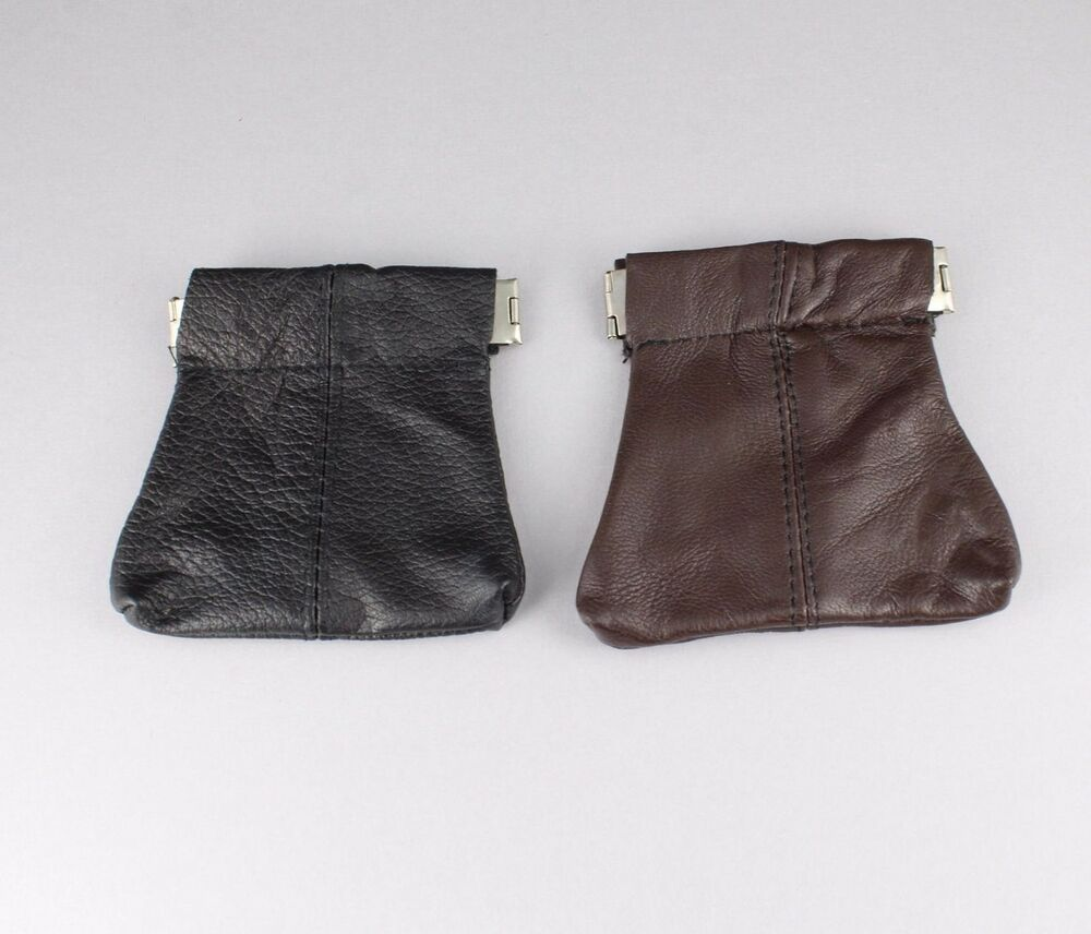 Brown Or Black Leather Squeeze Top Coin Purse Bag Pouch 2