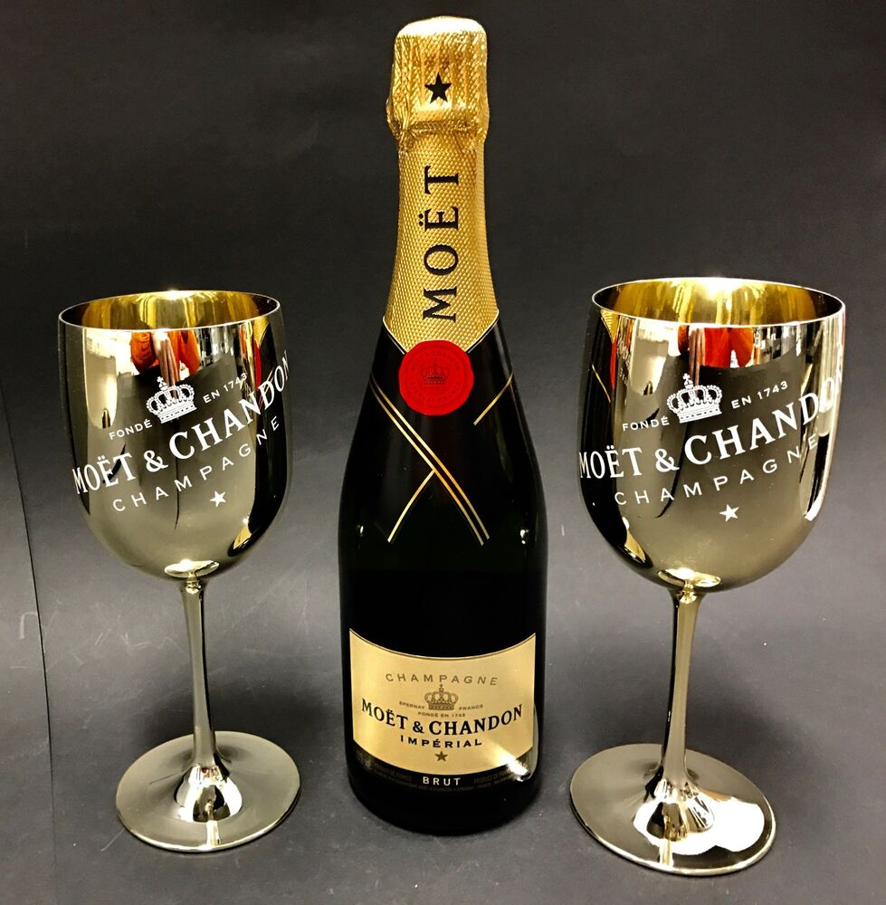 moet chandon imp rial champagner 0 75l flasche 12 vol 2 gold acryl gl ser ebay. Black Bedroom Furniture Sets. Home Design Ideas