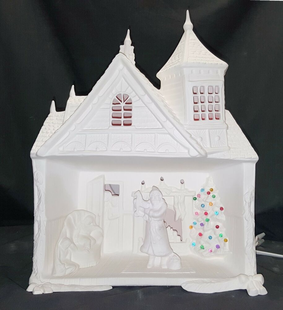 Provincial 729 christmas santa house damaged ready to for Ceramic house paint
