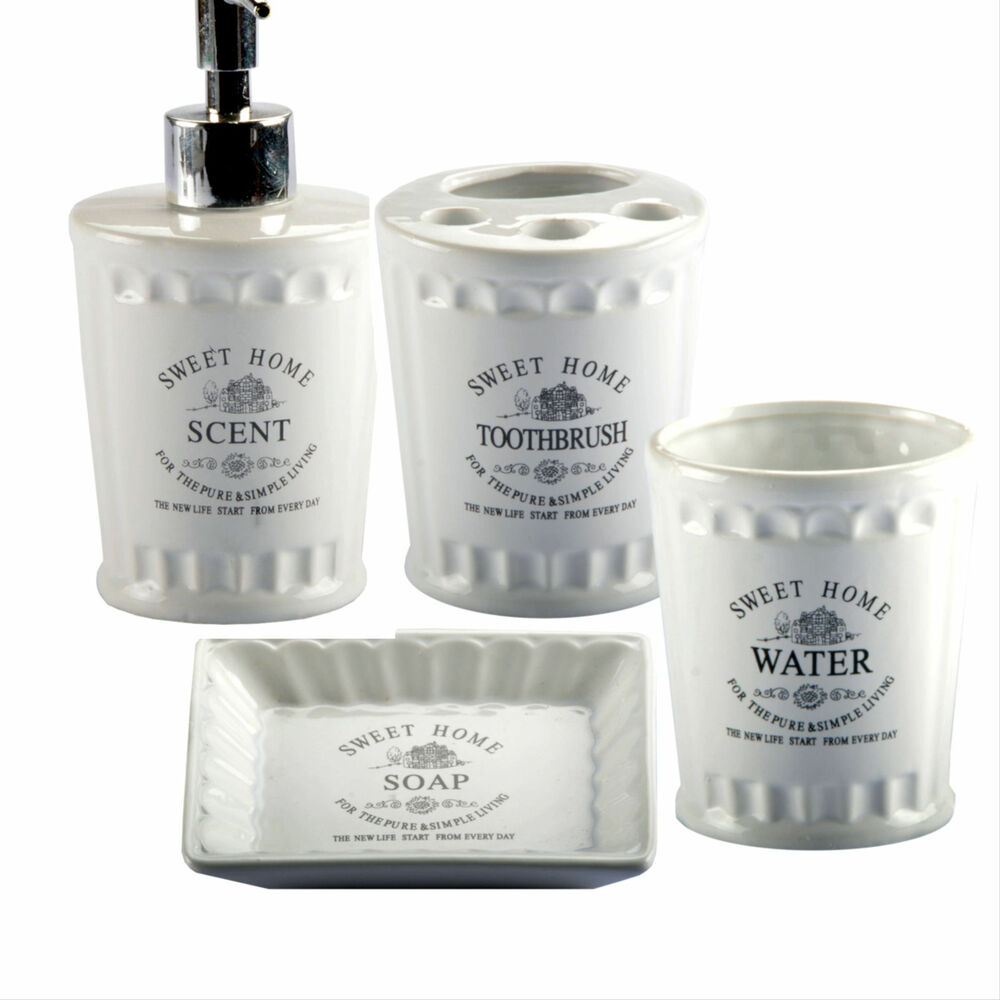 Washing cup soap dispenser toothbrush holder soap dish bathroom set ebay - Bathroom soap dish sets ...
