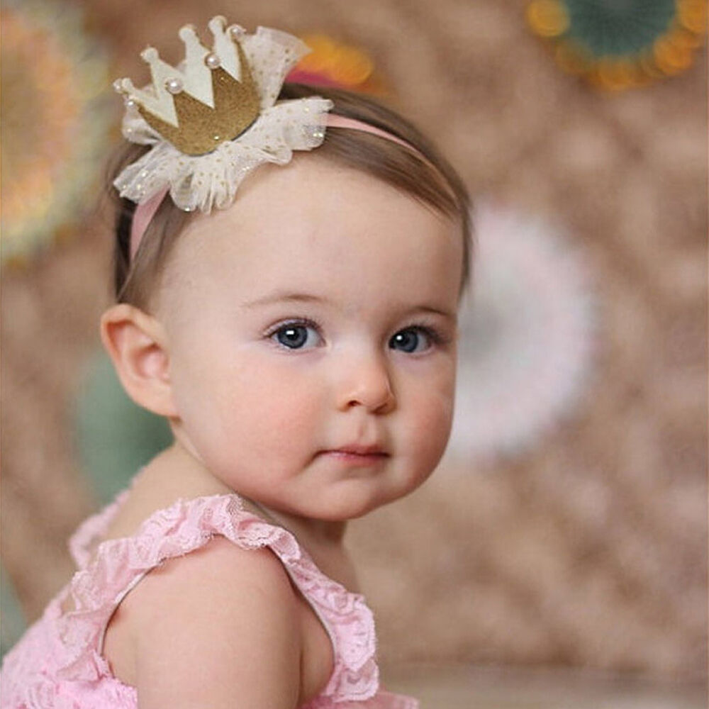 Cute Kids Baby Girl Toddler Lace Crown Hair Band Headwear