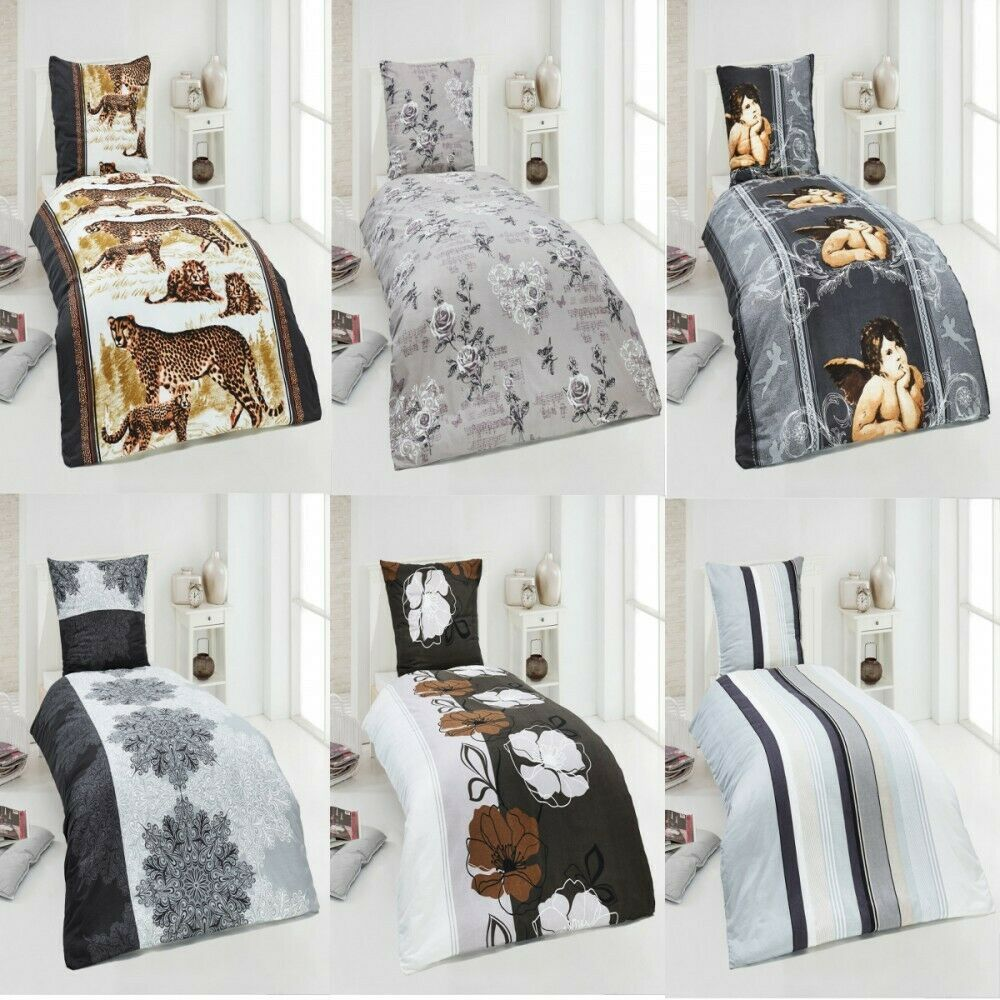 2 tlg warme winter biber bettw sche baumwolle 135x200 80x80 winterbettw sche ebay. Black Bedroom Furniture Sets. Home Design Ideas