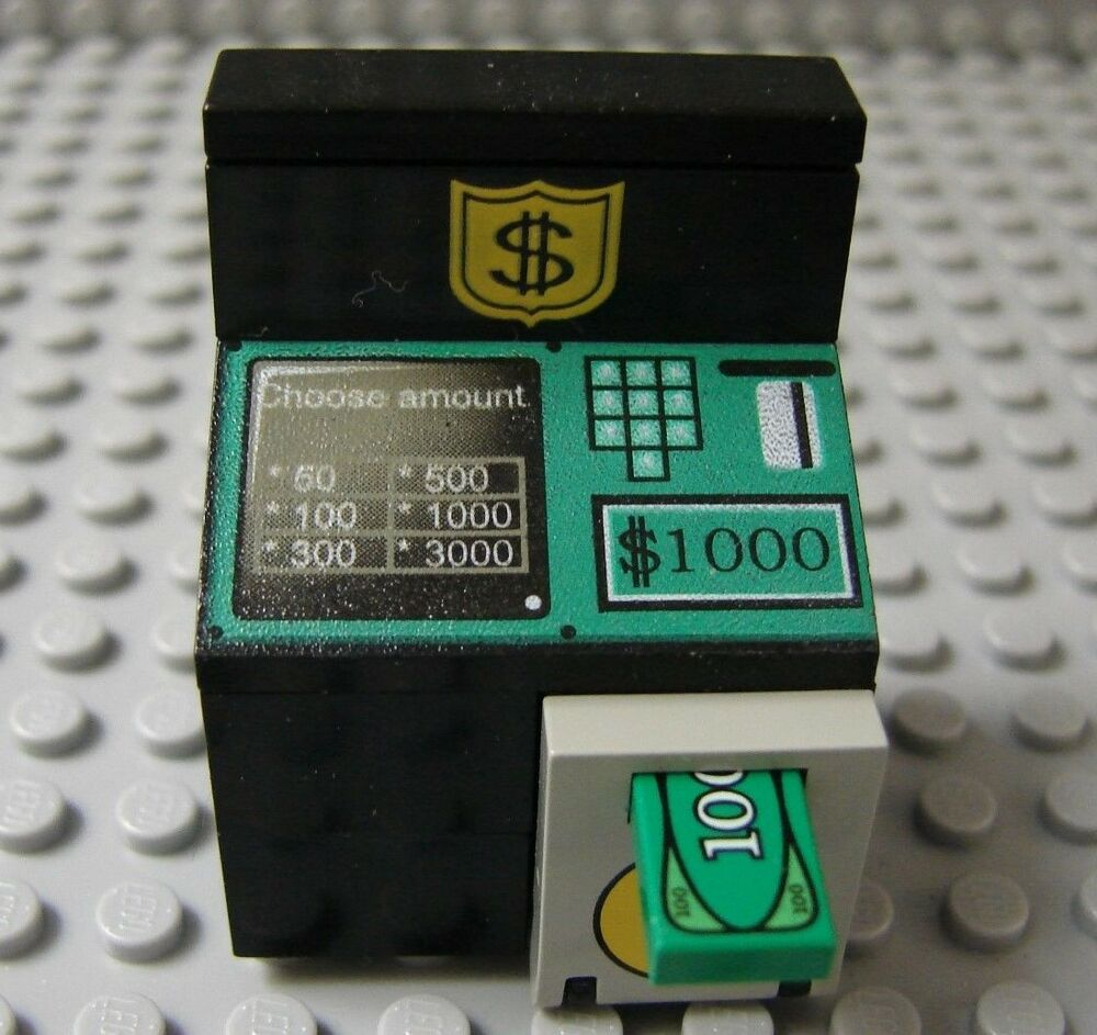 lego minifig delux atm bank money machine cash box safe
