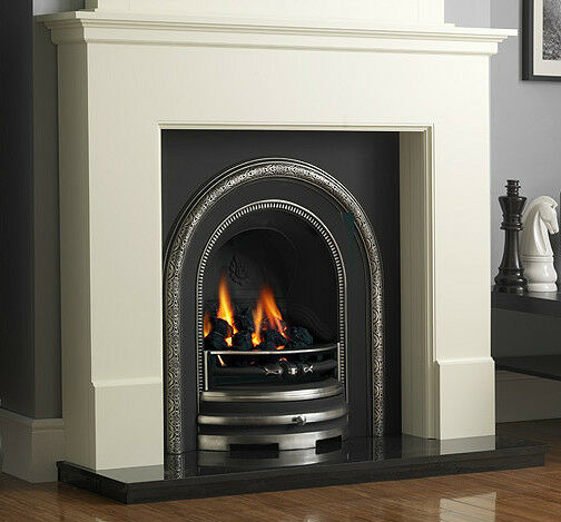 Gas cast iron black granite white surround coal fire traditional fireplace suite ebay - Black and white fireplace ...