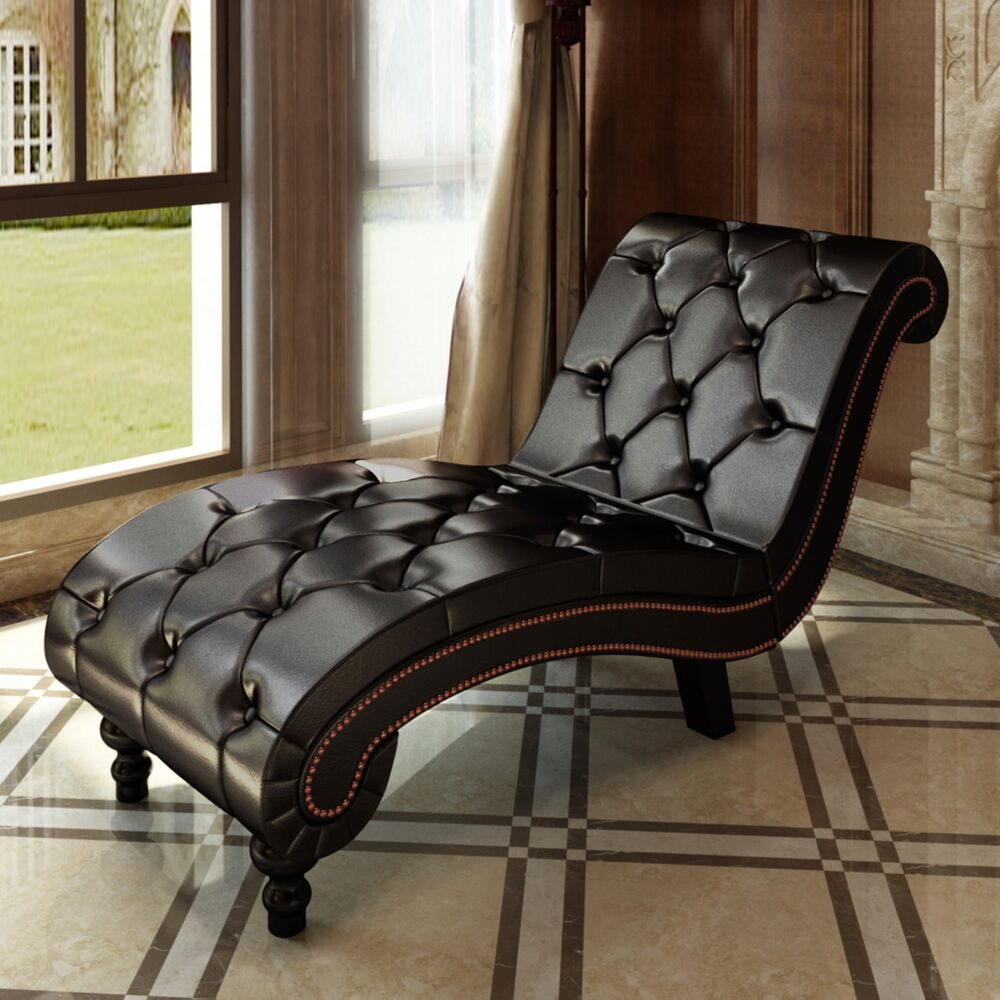 Leather Sofa With Chaise Lounge: New Leather Chaise Lounge Chesterfield Brown Retro Sofa